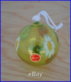 Authentic Murano Glass Millefiori Ball Ornament, Lime Green