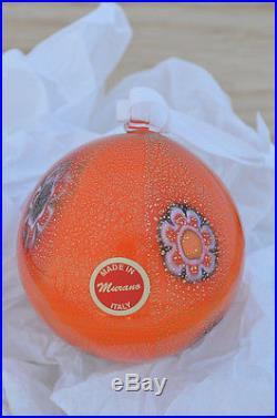 Authentic Murano Glass Millefiori Ball Ornament, Orange