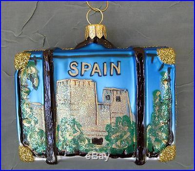 Barcelona Spain Suitcase Glass Christmas Ornament