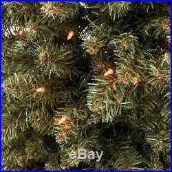 BCP 7.5ft Pre-Lit Hinged Fir Artificial Christmas Tree with Stand Green
