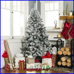 BCP 7.5ft Snow Flocked Hinged Artifical Pine Christmas Tree with Metal Stand