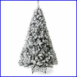 BCP 9ft Snow Flocked Hinged Artifical Pine Christmas Tree with Metal Stand