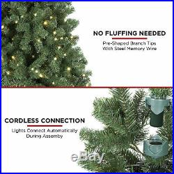 BCP Pre-Lit Instant No Fluff Artificial Spruce Christmas Tree with Memory Branches