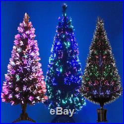 BLACK FIBRE OPTIC CHRISTMAS TREE COLOUR CHANGING 2ft 3ft 4ft 5ft 6ft XMAS TREE