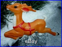BLOW MOLD REINDEER EMPIRE SANTA's FLYING REINDEER CHRISTMAS PLASTIC 29