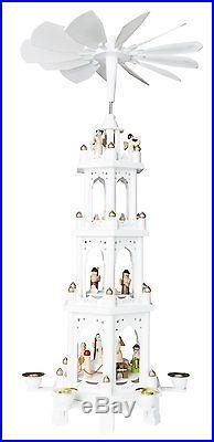 BRUBAKER White Christmas Pyramid 24 Nativity Play, 4 Tier Carousel