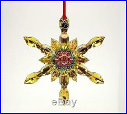 Baccarat Noel Crystal Snowflake Xmas Christmas Ornament Large YELLOW New in Box
