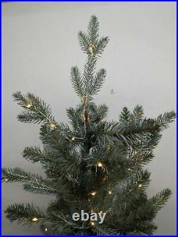Balsam Hill 4′ Silver White Spruce Pot Tree 33 wide Pre-lit New Box Open