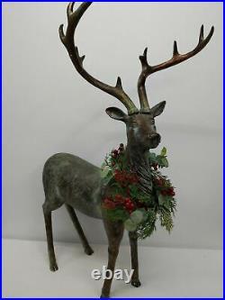 Balsam Hill Festive Antique Standing Deer 31×10.5 Indoor/Outdoor-NewithOpen Box