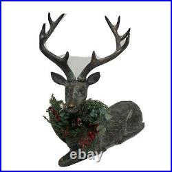 Balsam Hill NEWithOpen box Festive Antiqued Sitting Reindeer 20.8 H Polyresin
