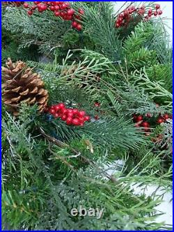 Balsam Hill Outdoor Red Berry Pine Garland 10′ Set of 2 LED New in Open Box