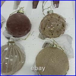 Balsam Hill Winter Wishes Ornaments Newith Open Box Glass/Velveteen Set of 25