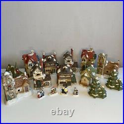 Beautiful Ceramic Christmas Village Buildings Figures, Trees 16 Pieces Display