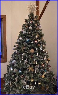 Beautiful Designer 7.5′ Christmas Tree set Lux Ornaments Luminous cool tones
