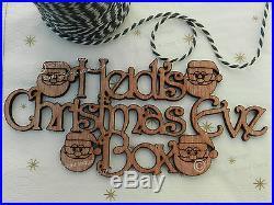 Beautiful Personalised'Christmas Eve Box' Sign. Wooden Santa Craft Sign