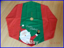 Beautiful Red and Green Happy holidays Christmas tree skirt with Santa