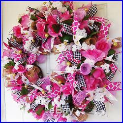 Beautiful Romantic Floral Valentines Day Mesh Front Door Wreath Decor Decoration