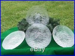 Beautiful SET of 4 HOYA CRYSTAL CHRISTMAS TREE Clear Dinner Plates 9 Holiday