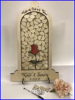 Beauty and the Beast Wedding 72 petal drop box alternative guest book Dome Jar