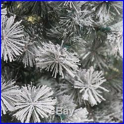 Belham Living 7.5 ft. Pre-Lit Flocked Pine Needle Full Christmas Tree, White, 7