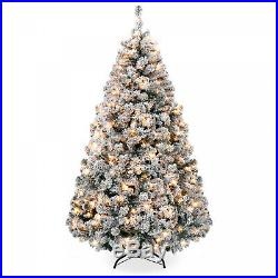 Best Choice Products 6ft Pre-Lit Snow Flocked Hinged Artificial Christmas Pine