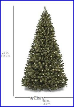 Best Choice Products 7.5ft Pre-lit Spruce Hinged Artificial Christmas Tree with 55