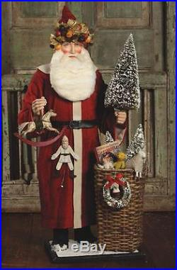 Bethany Lowe 34 Father Christmas Santa Toy and Basket Centerpiece Figure