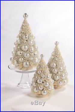 Bethany Lowe 3 Pc Bottle Brush Tree Set Ivory with Platinum White Balls