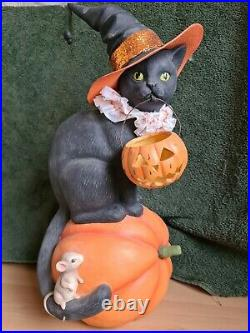 Bethany Lowe Halloween Black Cat With Witches Hat Vintage Style Ornament TK Maxx