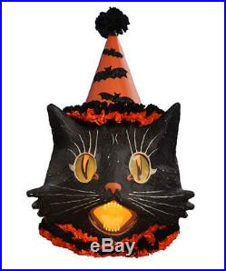 "Bethany Lowe Halloween Paper Mache Large Sassy Cat Lantern, 15"" x 20""H"