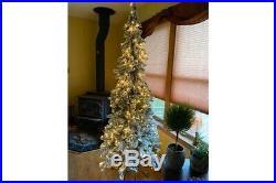 Bethlehem Lights 7′ Slim Flocked Downswept Decorator Christmas Tree QVC Clear