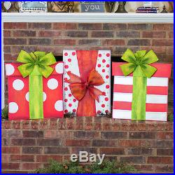 Big Christmas Present Outdoor Holiday Decoration (White/Red & Green Dots)