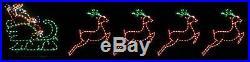 Big Santa Claus Sleigh 4 Reindeer Outdoor LED Lighted Decoration Steel Wireframe