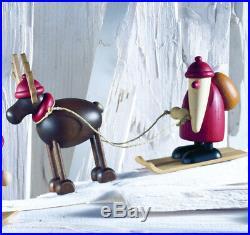 Björn Köhler Weihnachtsmann auf Ski Rentier Rudolf 12cm Erzgebirge 6240 Neu