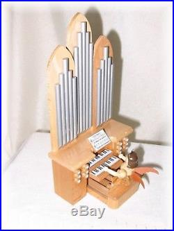Blank Engel an der Orgel m. Spielwerk Natur Kurzrockengel