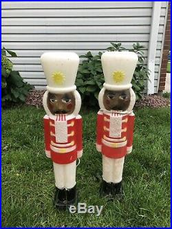 Blow Mold African American Nutcracker x 2 Lighted Outdoor Christmas 31