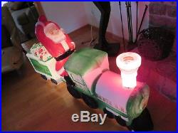 Blow Mold SANTA CLAUS TRAIN ENGINE with TENDER Vintage Empire HTF Christmas Prop