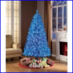 Blue Artificial Christmas Tree Xmas Pine Pre Lit 6 FT Lights Holiday Decoration