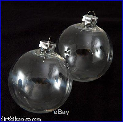 Box of 6 83mm (3 1/4) Round Clear Plastic Ball Ornaments -Great for Crafting