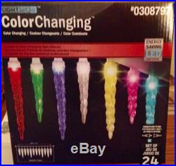 Brand New GEMMY Light Show Set of 24 Color Changing LED Icicle Lights Christmas