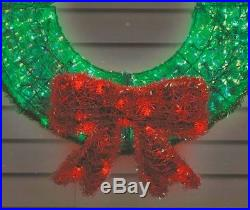 Bright 36 LED Green Wreath Red Tinsel Reflective Bow Christmas Yard Roof Decor