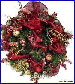 Burgundy Gold Williamsburg Christmas Door Wreath Beaded Fruit Hydrangeas