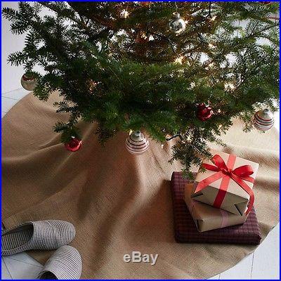 Burlap Christmas Tree Skirt, Natural, 60-inch