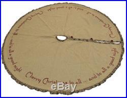 Burlap Santa Ruffled Tree Skirt Merry Christmas 48 Round, New