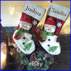 Burlap Snowman Personalised Christmas Stockings Embroidered with names