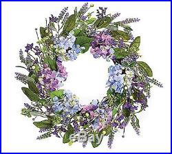 Burton and Burton Lavender Hydrangra Silk and Flower Wreath 21 Inch