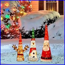 CHRISTMAS 18 REINDEER, 24 SNOWMAN, 32 SANTA TINSEL CHARACTER CONES YARD DECOR