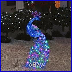 CHRISTMAS 4 FT TALL PEACOCK With SPARKLING LED LIGHTS OUTDOOR INDOOR YARD SCULP