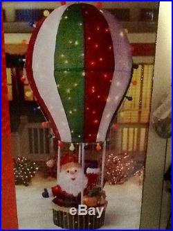 CHRISTMAS 6′ TINSEL SANTA IN HOT AIR BALLOON 175 LIGHTS OUTDOOR YARD DECORATION