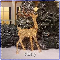 Christmas Buck Doe Sculpture Set Reindeer Deer Light